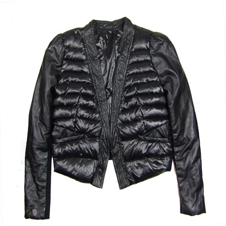 2014正品欧洲站 修身V领真皮镶拼西装款经典黑色羽绒衣,羽绒服