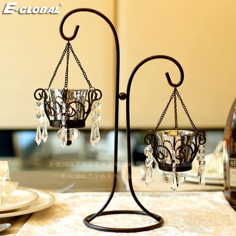 美式复古铁艺浪漫烛光晚餐蜡烛台玻璃烛杯道具欧式品