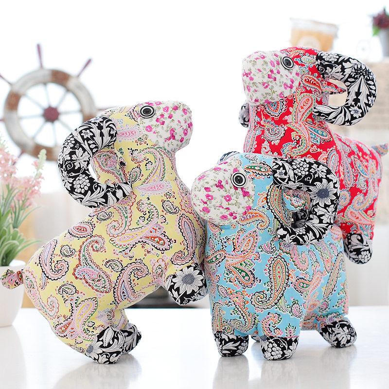 羊年吉祥物碎花布艺羊生肖羊小羊公仔毛绒玩具婚庆活动小礼品玩偶