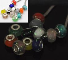 Charm Beads 14x9m 100 European Lampwork Luminous Glass Mixed