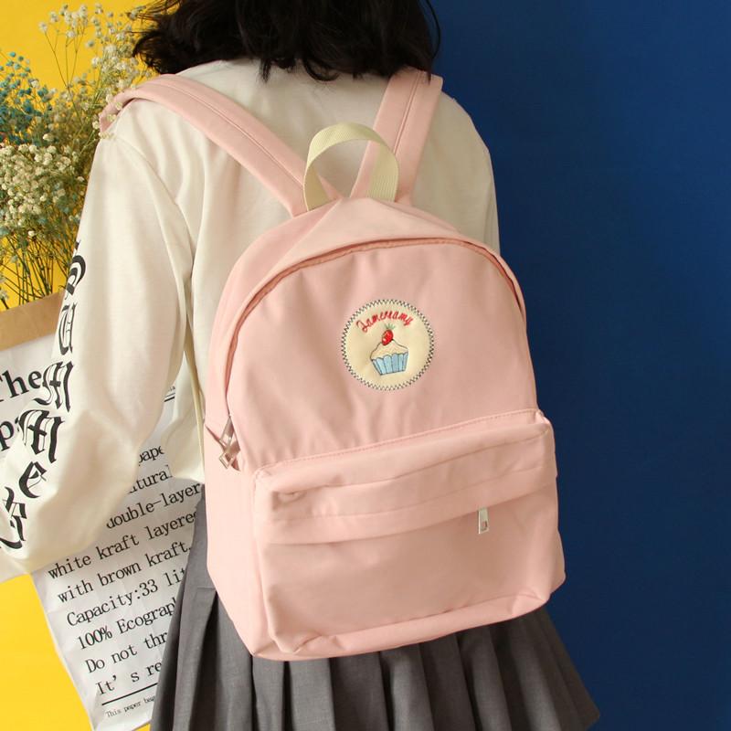 日系少女独立设计自制奶昔粉女学生可爱书包韩版多功能箱型双肩包