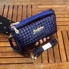 小方格漆皮手拿包 女式双拉链斜挎包中老年两用包 2017冬季新款