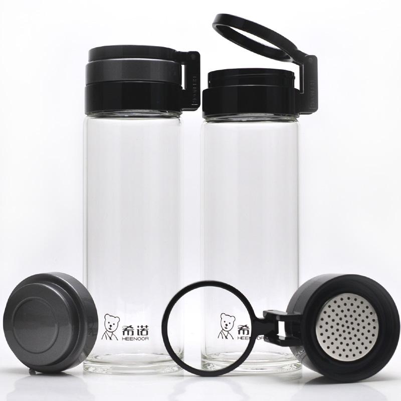 希诺正品玻璃杯 大容量男女士泡茶水杯子带提环提手便携6075 6076