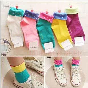 6双包邮袜子 女 纯棉 两面穿 韩国可爱女袜 中筒创意翻边波点批