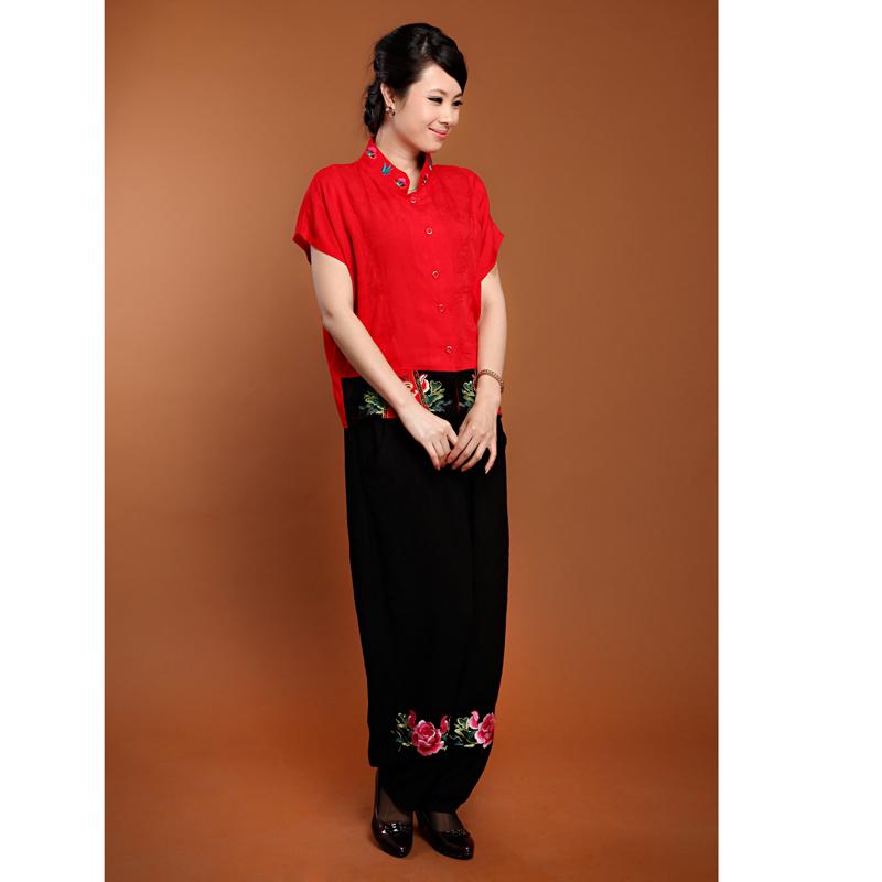 唐装上衣女 棉麻民族风中老年旗袍改良汉服女装印花夏装短袖加大