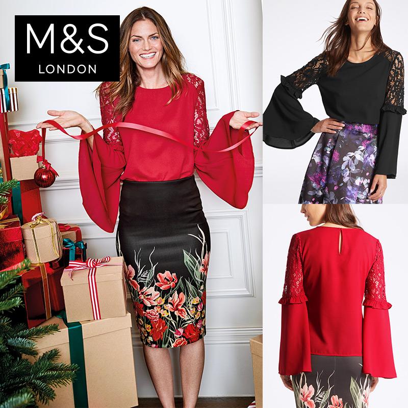 马莎玛莎 女秋装新款红黑色嵌入蕾丝褶皱袖茧型衬衫上衣 T436417