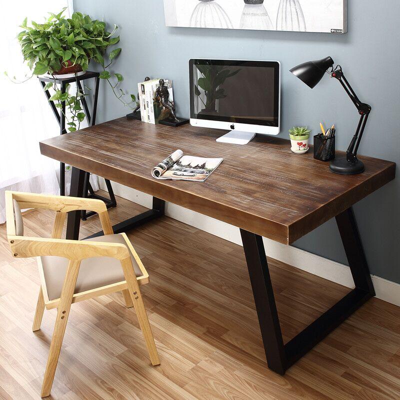 loft美式实木书桌简约电脑桌椅组合双人书桌写字台桌