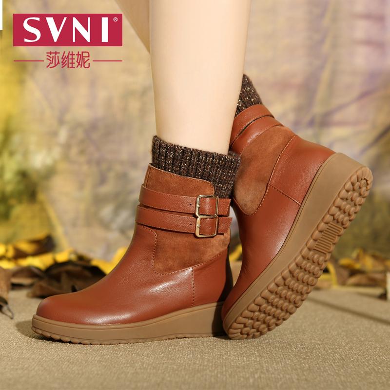 莎维妮2014冬新款保暖女靴欧美圆头平跟中筒靴人造短毛绒骑士靴