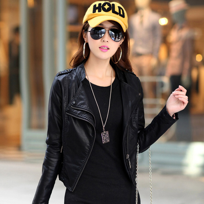 2013新款女款修身OL女装拼接立领皮由PU机车皮衣渐变色短外套包邮