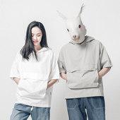 [Bytehare]原创设计连帽情侣五分袖套头衫宽松大口袋插肩短袖卫衣