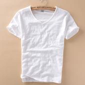 做旧毛边薄款V领竹节棉短袖T恤男士休闲日系薄款修身纯棉男t恤衫