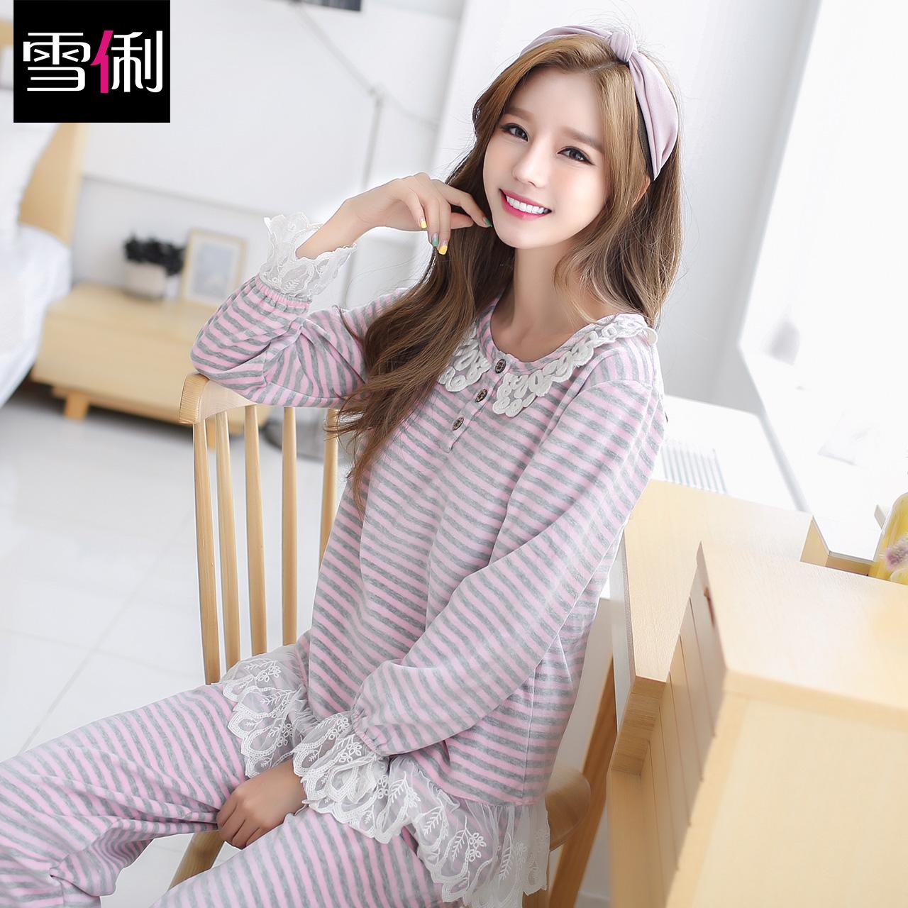 雪俐法兰绒女士睡衣家居服公主蕾丝秋季韩版长袖珊瑚绒居家服套装