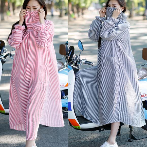 骑车防晒衣防尘防紫外线格子衬衣女上衣长袖开衫纯棉加长款夏包邮