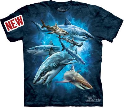美国代购themountain 蓝色深海鲨鱼群3D扎染纯棉环保短袖t恤