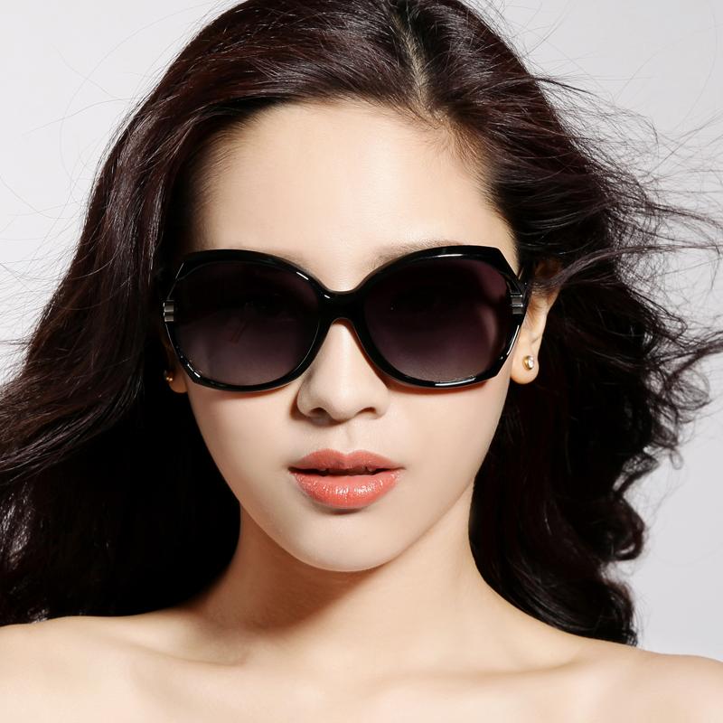 女士偏光太阳镜 百搭防紫外线蛤蟆镜太阳眼镜 大框复古近视墨镜潮