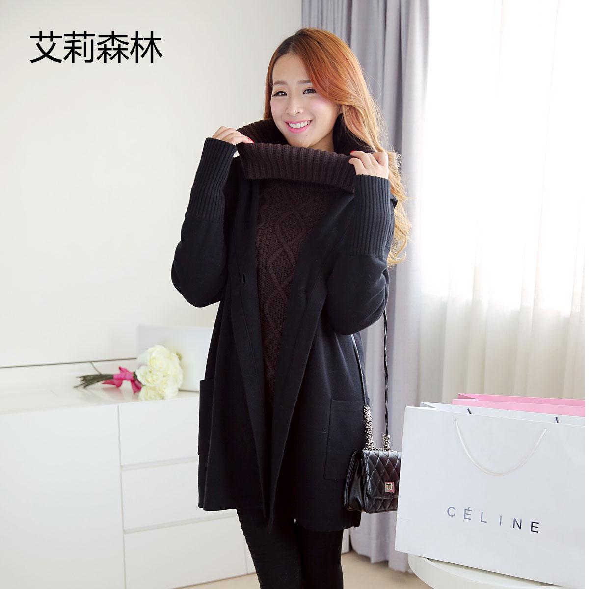 艾莉森林2013秋冬装新款女纯色中长款针织开衫 韩版连帽毛衣外套