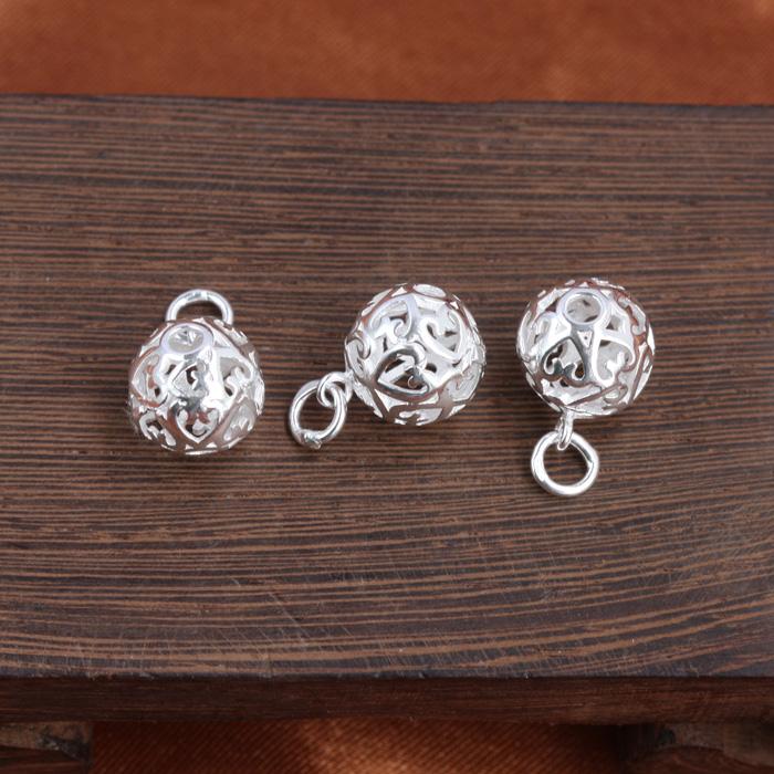串珠掛件手鏈電鍍diy配件 球吊墜玲瓏 愛心鏤空銀球項墜雕花