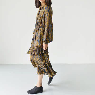 雪纺连衣裙长袖2017春装女装新款显瘦韩版时尚中长款百褶印花长裙