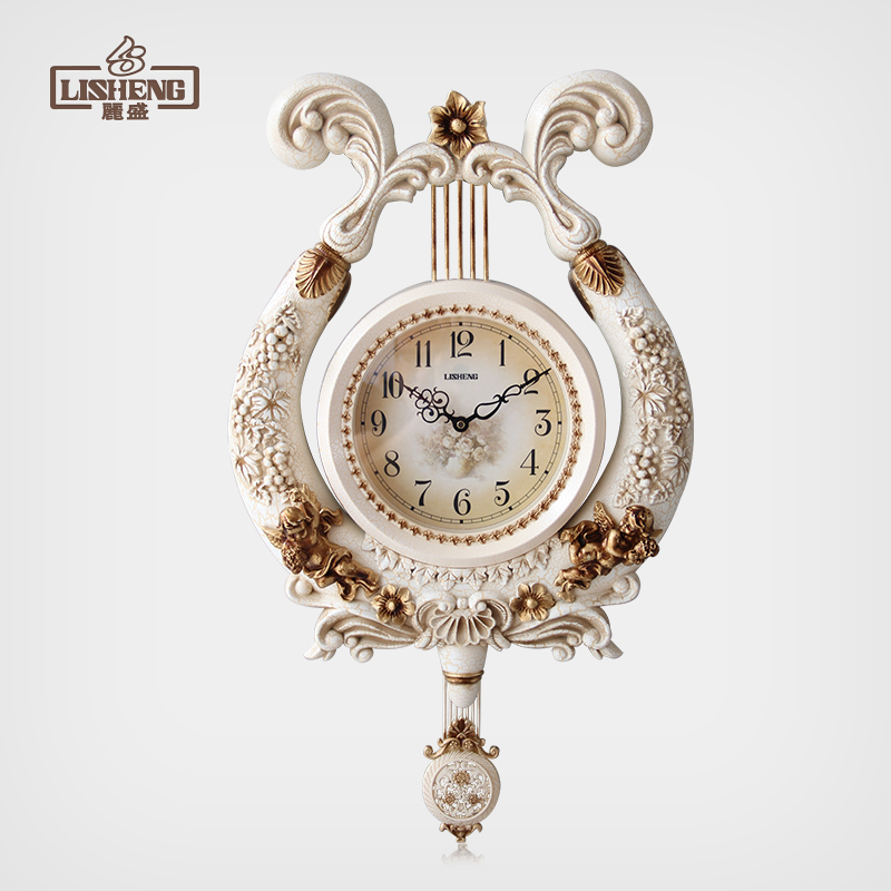 丽盛 欧式古典 奢华高档树脂时钟挂钟 客厅静音艺术挂钟 D604