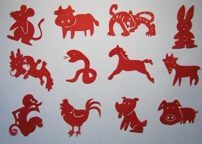 简笔传统民俗儿童画十二生肖手工剪纸 中国特色礼品 剪纸画图片