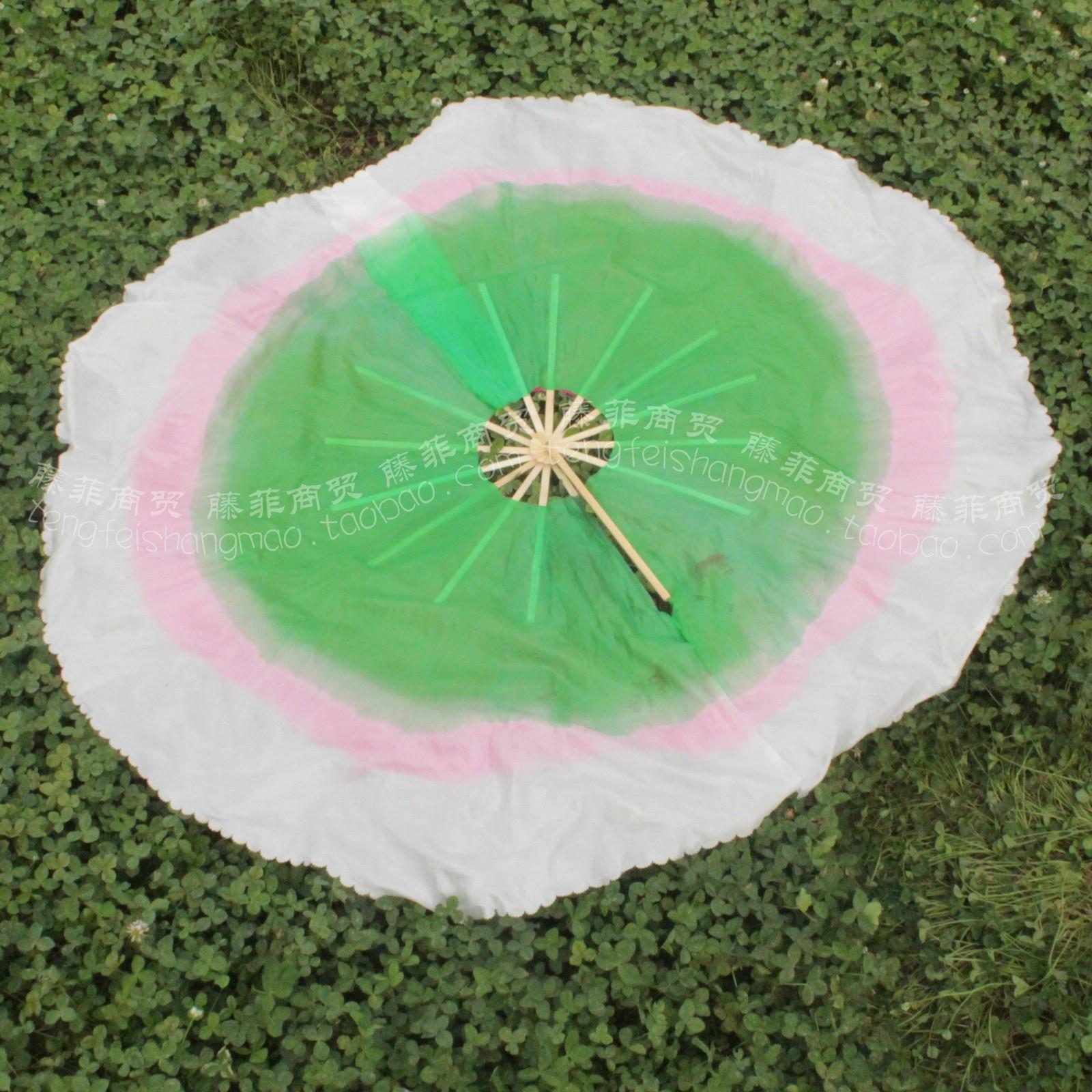 咏荷双面舞蹈扇子批发渐变色绸加长360度仿真丝舞扇圆扇舞蹈道具