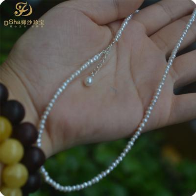 稀有迷你1-2mm近圆天然小珍珠项链锁骨链 纯银珍珠吊坠 好货不贵