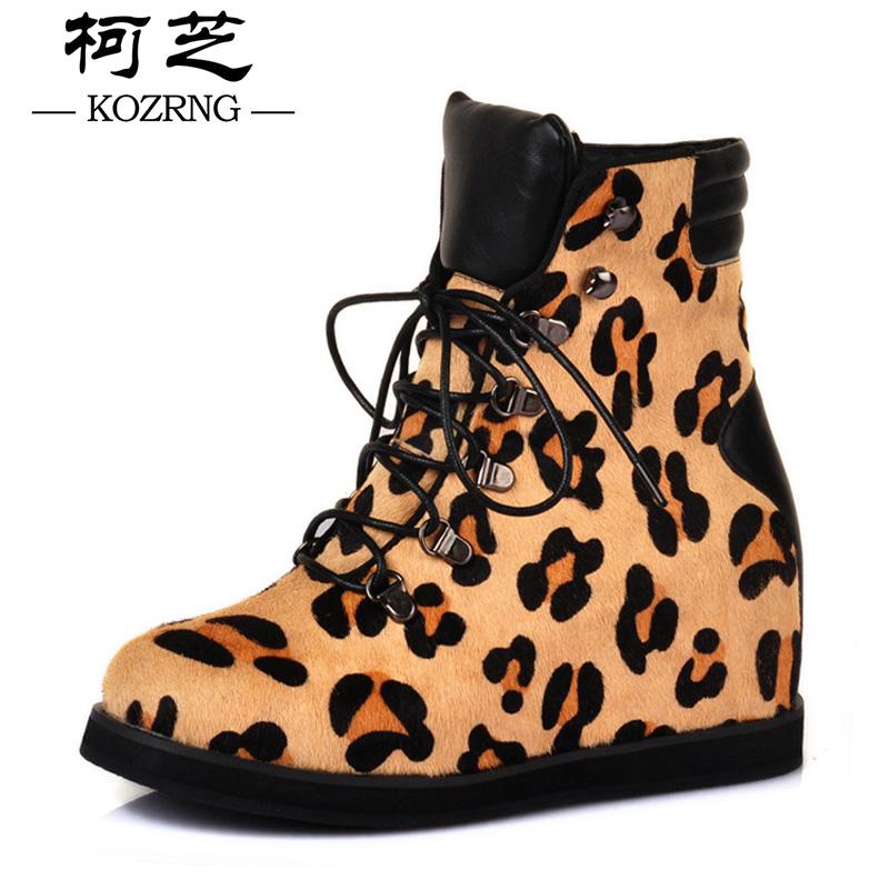 短靴女泰囧范冰冰同款欧洲站2014春新豹纹马毛及踝内增高平底女靴