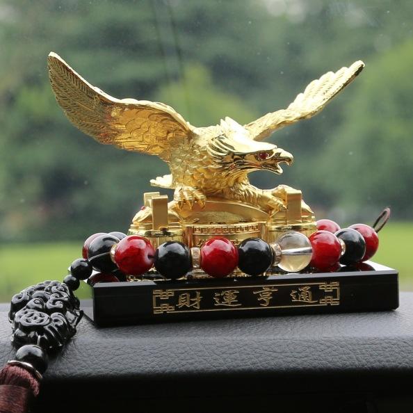 汽车香水座车载水晶摆件金属雄鹰车内饰品大展宏图创意装饰用品