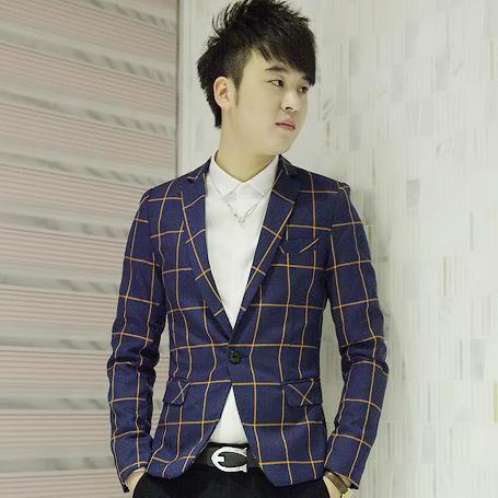 男装秋冬新品小西装韩版2013时尚个性格子潮男士修身西服青年礼服