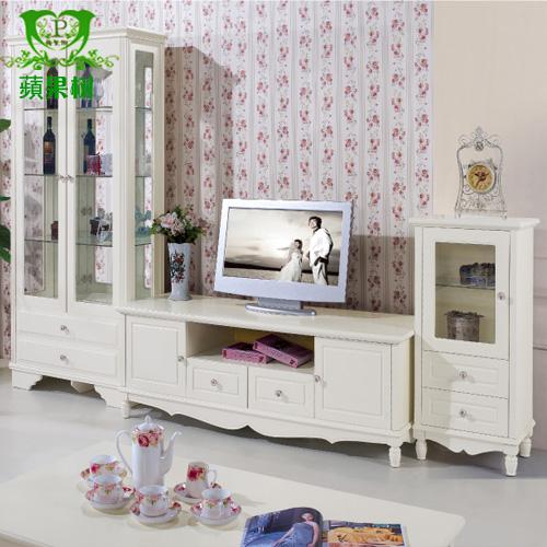 田园家具 韩式电视柜 田园地柜白色电视机柜子 简约矮柜