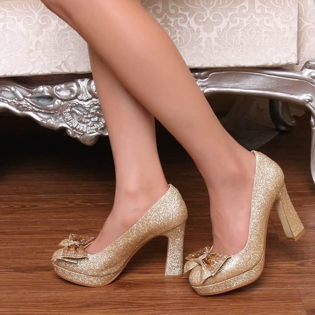 2014新款专柜正品秋鞋蝴蝶结女单鞋高跟防水台J40金色婚鞋