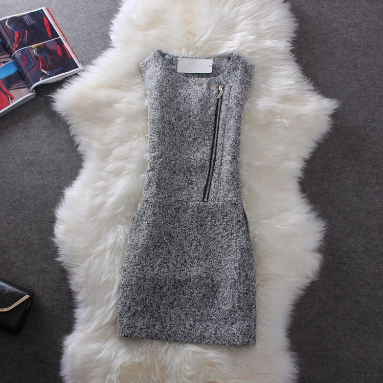 秋冬女装新款 复古气质小香风 斜拉链修身韩版包臀毛呢背心连衣裙