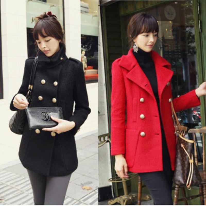 2016新品韩版毛呢大衣修身显瘦双排扣女呢子大衣女装冬季尼外套