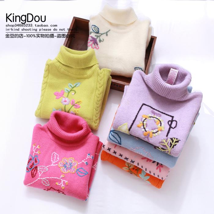 金豆的店2014冬季新品童装女童高领打底衫羊毛线衣绣花针织衫保暖