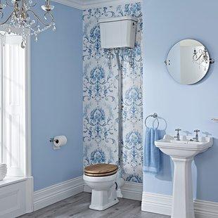 维多利亚WC与高级水箱英伦梅玛风格复古马桶古典实木盖板