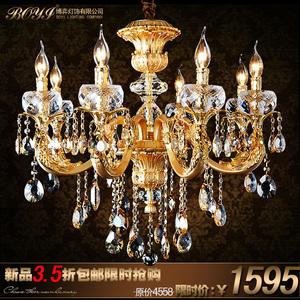 吸顶欧式水晶吊灯奢华客厅卧室灯具餐厅水晶灯金色锌