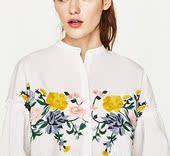 西班牙订单ZYRA 17春季新品花朵刺绣宽松灯笼袖衬衫0881012
