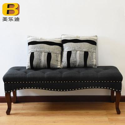 美式乡村换鞋凳布艺床尾凳床榻服装店沙发凳长实木试衣间茶几凳子