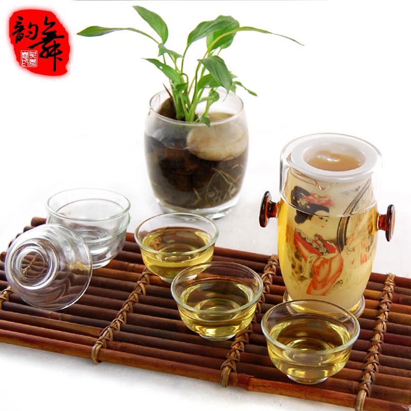 红茶茶具套装 耐热玻璃茶具 功夫茶具双耳泡茶器青花瓷 特价 包邮