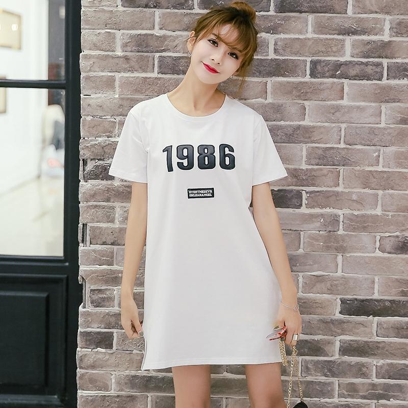 2016夏季韩版字母印花短袖长款t恤女 中长款休闲上衣大码女装