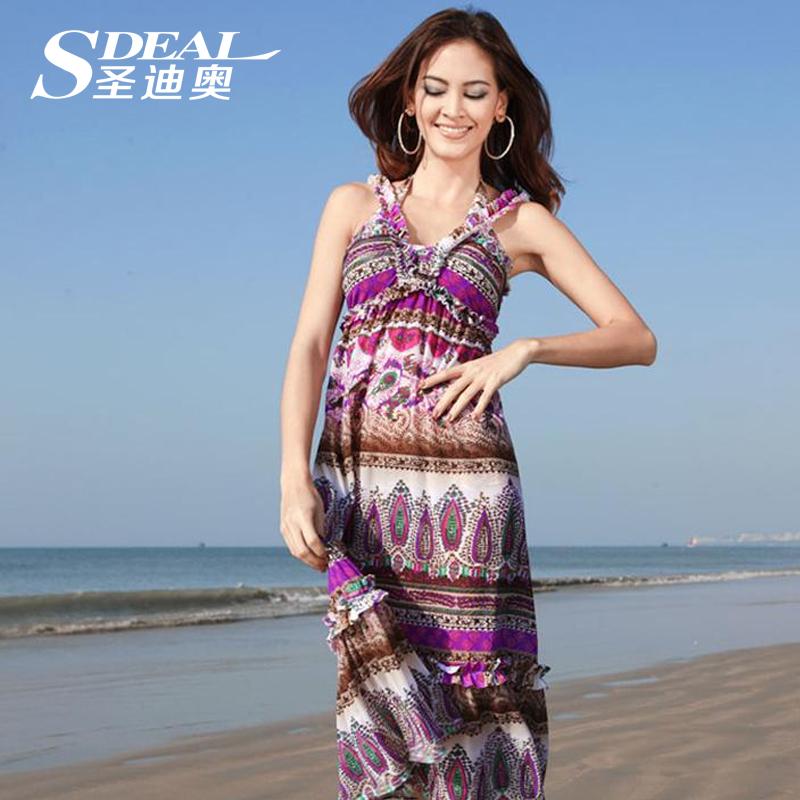 新款专柜正品裙式女游泳衣波西米亚风长裙比基尼三件套游泳衣