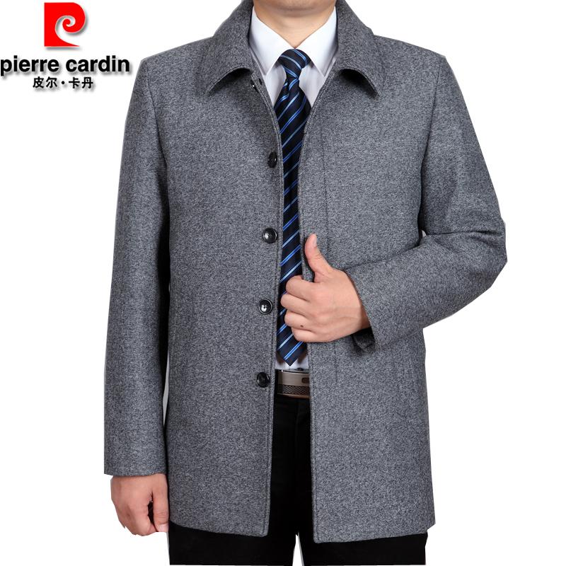皮尔卡丹秋冬男装加厚毛呢夹克男士中年翻领爸爸装羊毛休闲外套男