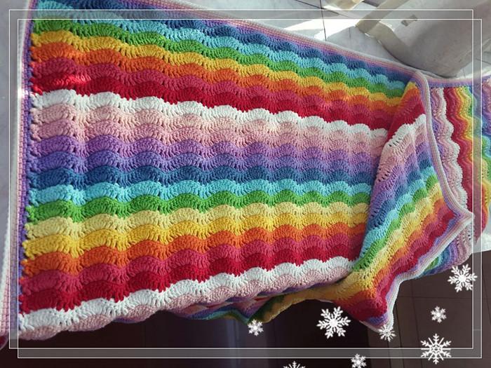 毛线编织波浪彩虹毯子宝宝手工盖被diy材料