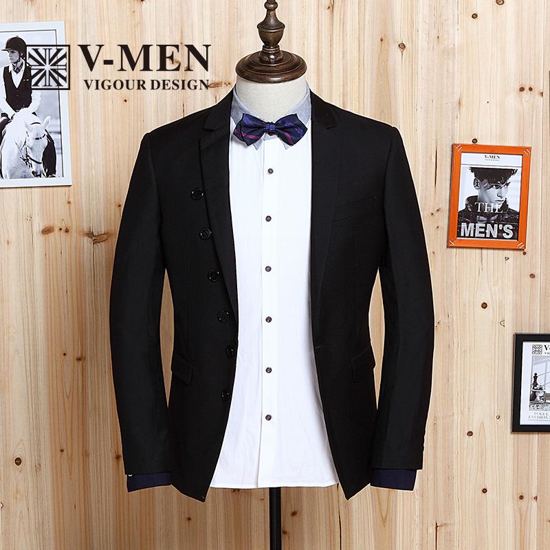 V-MEN威曼男装2014秋冬季新款修身休闲西服英伦时尚小西装男外套