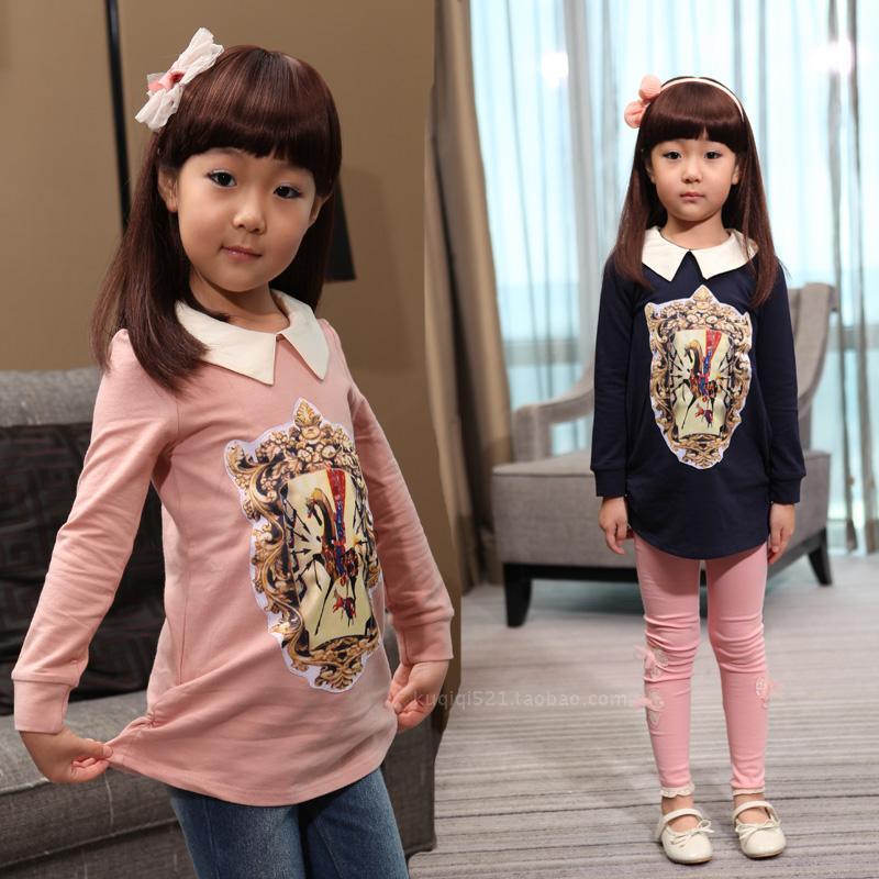 2013新款秋装女童 纯棉粉色深蓝色娃娃领公主风格长款长袖T恤韩版