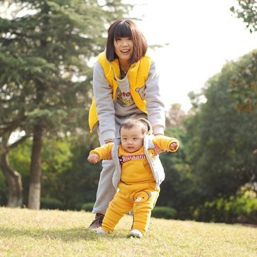 包邮小熊休闲卫衣套装加厚亲子装全棉加里母子装母女装韩版三件套