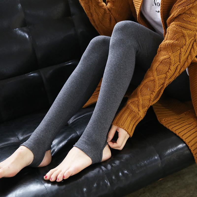 秋冬纯棉加绒踩脚打底裤女大码弹力小脚裤高腰显瘦加厚外穿九分裤