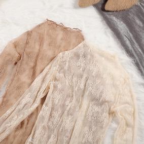 百搭高领蕾丝衫女长袖秋冬季内搭打底衫时尚女衫宽松韩版网纱上衣