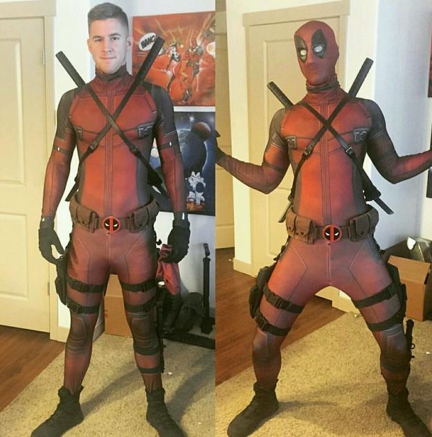 热销 Deadpool死侍万圣节服装 Zentai紧身衣战斗cosplay 数码印花