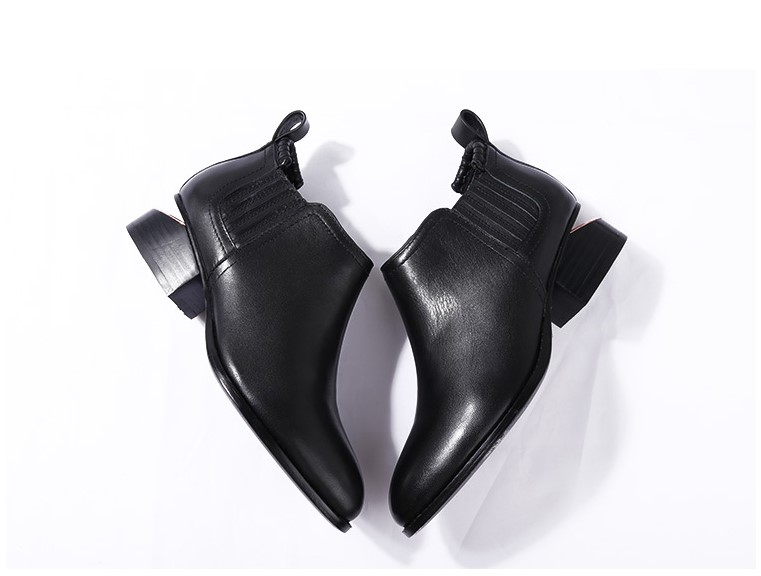 2017欧美新款金属跟缺跟粗切跟短靴踝靴牛皮时尚尖头女鞋子